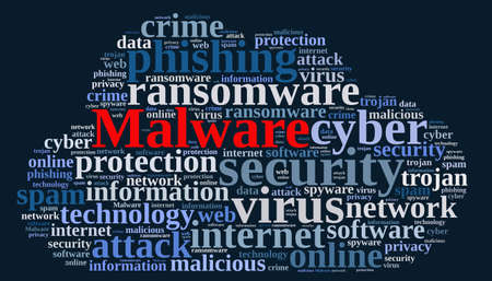 malicious software: Illustration with word cloud with the word malware.