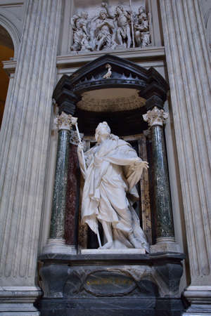 A marble statue disciple of Jesus the Apostle of St. James the Greater by Rusconi in Basilica di San Giovanni in Laterano in Rome Sajtókép