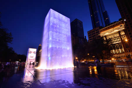 CHICAGO, USA - JULY 15 : View of the Crown Fountain in Millennium Park in Chicago on July 15, 2017. The fountain is interactive work of public art and video sculpture designed by Jaume Plensa