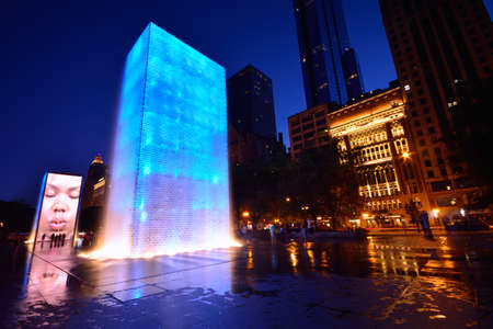 CHICAGO, USA - JULY 15: View of the Crown Fountain in Millennium Park in Chicago on July 15, 2017. The fountain is interactive work of art and video sculpture designed by Jaume Plensa