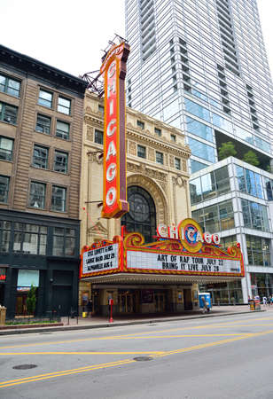 CHICAGO, ILLINOIS - JULY 16: The famous Chicago Theater on State Street on July 16, 2017 in Chicago, Illinois. Opened in 1921, the theater was renovated in the 1980s and is now owned by Madison Square Garden Inc.