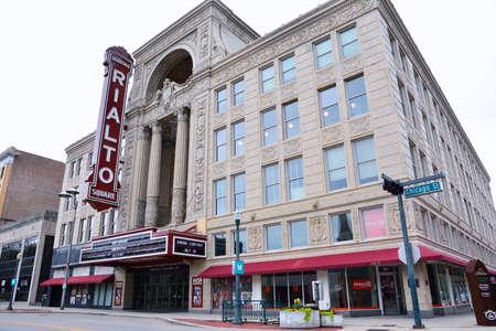 JOLIET, ILLINOIS - JULY 16: Rialto Square Theater (1926) on Chicago Street on July 16, 2017 in Joliet, Illinois.