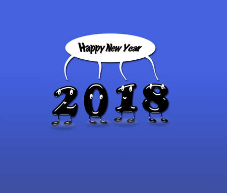 Cartoon of 2018 numerals with speech buble with text Happy New Year on blue background. 3d rendering. Stock Photo