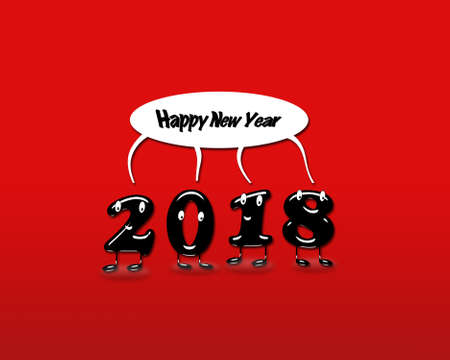 Cartoon of 2018 numerals with speech buble with text Happy New Year on red background. 3d rendering.
