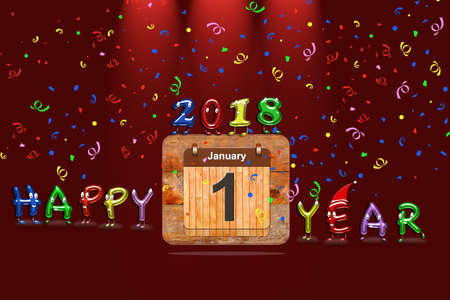 Wooden calendar with first January of 2018 year and colorful text Happy Year. 3D rendering