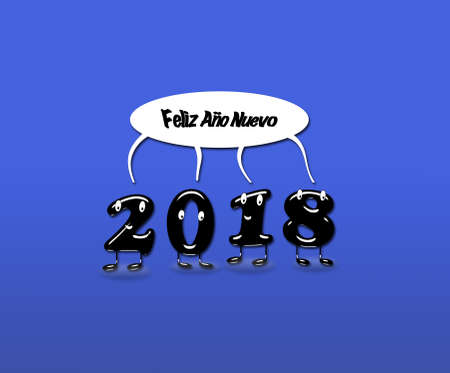Cartoon of 2018 numerals with speech buble with text Happy New Year written in Spanish. 3d rendering.
