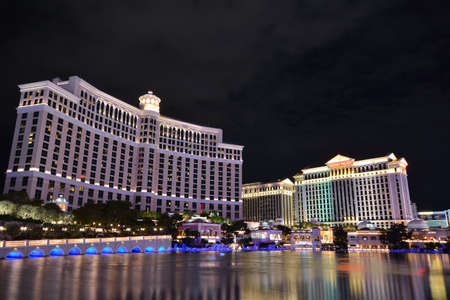 bellagio fountains: LAS VEGAS, NEVADA - JULY 25: Bellagio hotel and casino on July 25 2017 in Las Vegas. Bellagio is a luxury hotel and casino located on the Las Vegas Strip. The Bellagio opened on 1998.