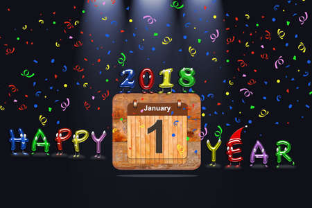 numeric: Wooden calendar with first January of 2018 year and colorful text Happy Year. 3D rendering