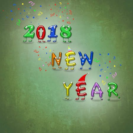 numbers abstract: An illustration of happy new year 2018. 3D rendering