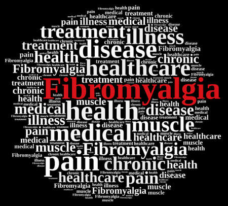 Illustration with word cloud on fibromyalgia. Stock Photo