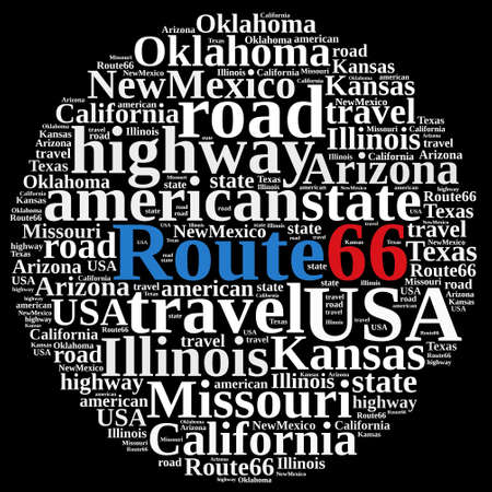 Illustration with word cloud on Route 66. Stock Photo