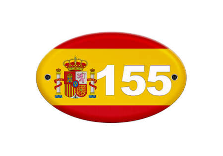 Illustration Spain flag with the number 155 in reference to article 155 of the Spanish constitution.