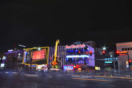 nevada: Las Vegas, Nevada - July 24, 2017: Night view of The Hard Rock Cafe on the Strip. The Hard Rock Sign is embedded in a Gibson Les Paul Guitar III in Las Vegas on July 24, 2017.