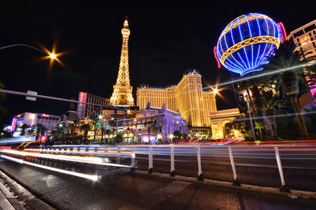 nevada: Las Vegas, Nevada - July 25, 2017: View of the Eiffel Tower and Paris balloon of Paris Resort Casino and hotels in Las Vegas on July 25, 2017.