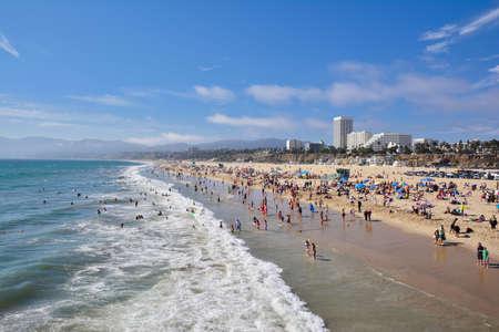 santa monica: Santa Monica, California - July 27, 2017: Santa Monica beach view from pier in California, USA.