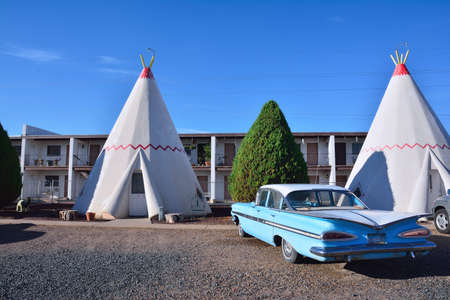 Holbrook, Arizona - July 23, 2017: Wigwam Motel on historic route 66 on July 23, 2017 in Holbrook, Arizona. The rooms of this hotel are built in the form of tipis. Editorial