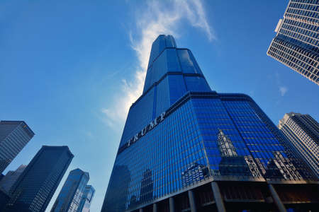 Chicago, USA - July 15, 2017: Trump Tower skyscraper building on Chicago River. Trump International Hotel and Tower, also known as Trump Tower Chicago and Trump Tower, is a skyscraper hotel in downtown Chicago, Illinois.