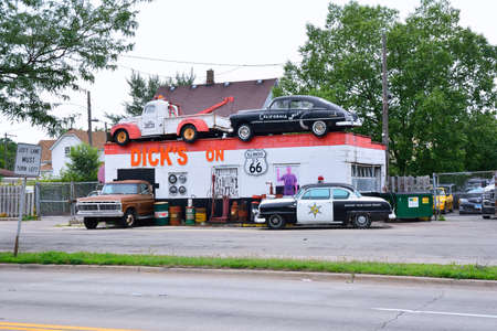 Joliet, Illinois, USA - July 16, 2017: Dicks Towing roadside attraction in the US Route 66 in Joliet, Illinois, USA.