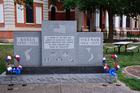 Pontiac, Illinois - July 16, 2017: Memorial in honor of the men and women of Livingston county those who died in Korea and Vietnam. Editorial