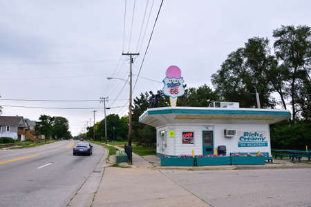 Joliet, Illinois - July 16, 2017: Rich & Creamy is typical of ice cream stores that dotted Route 66 in its heyday, when Broadway was a leg of the highway in Joliet.