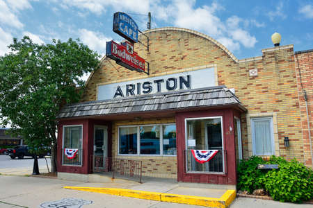Litchfield, Illinois - July 17, 2017: Point of interest on Route 66. The Ariston Cafe was founded by Pete Adam, a greek immigrant in 1924. This establishment is a popular stop for route 66 travelers.