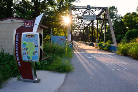 Granite City, Illinois - July 17, 2017: Route 66 on the old Chain of Rocks bridge on the Mississippi river. Editorial