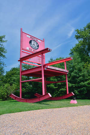 Fanning, Missouri - July 18 2017: The giant Rocking Chair of the Fanning outpost general store on the Route 66. Editorial