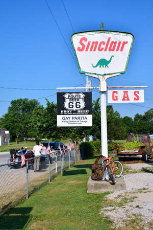 PARIS SPRINGS, USA - JULY 19, 2017: Gay Parita Sinclair gas station, a Route 66 legend. Owner: Gary Turner. This is a recreation of a circa 1930 gas station. Editorial