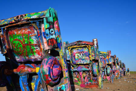 Amarillo, Texas - July 21, 2017 : Cadillac Ranch in Amarillo. Cadillac Ranch is a public art installation of old car wrecks and a popular landmark on historic Route 66 Stock Photo - 92693767