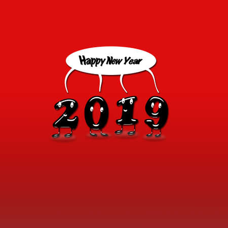Cartoon of 2019 numerals with speech bubble with text Happy New Year on red background. 3d rendering.