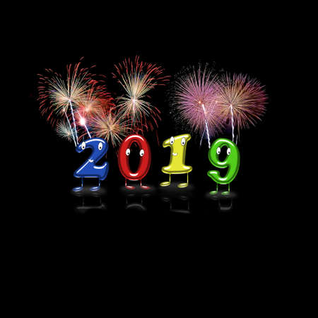 Colorful 2019 numerals with eyes, mouths and feet partying new year with background. 3D rendering.