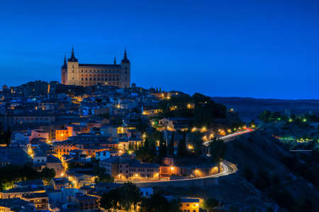 Panoramic view of the medieval center of the city of Toledo, Spain. It features the Alcazar of Toledo, Spain. Stock Photo