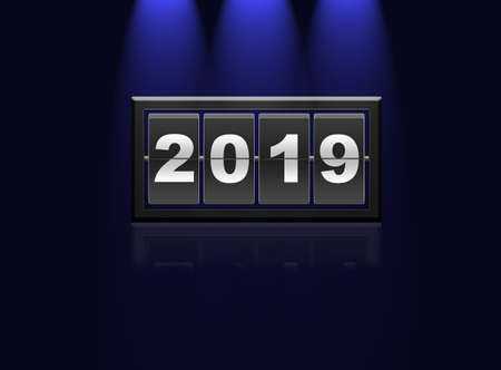 Illustration of 2019 year on blue background illuminated and reflecting. 3D rendering.