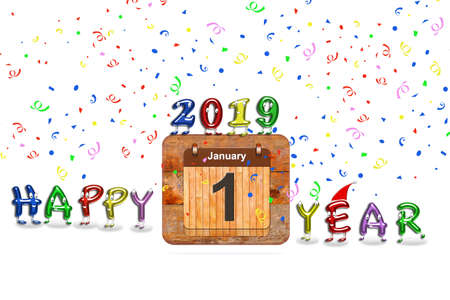 Wooden calendar with first January of 2019 year and colorful text Happy Year. 3D rendering Reklamní fotografie