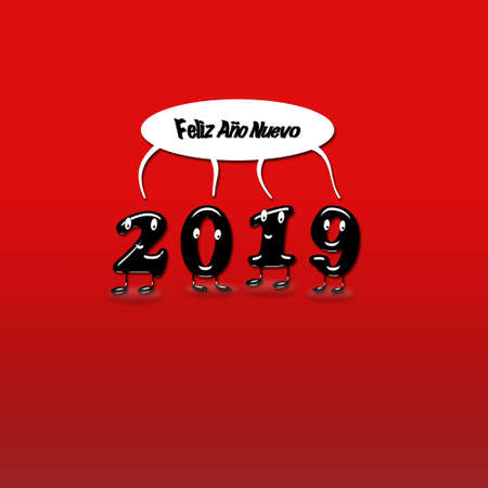 Cartoon of 2019 numerals with speech bubble with text Happy New Year written in Spanish. 3d rendering.