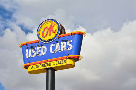 Arizona, Usa - July 24, 2017: OK Used Cars neon sign authorized dealer. Chevrolet own used car division.
