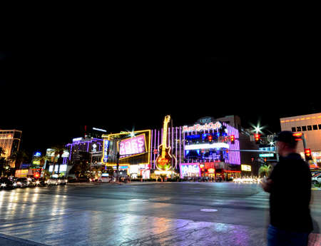 Las Vegas, Nevada - July 24, 2017: Night view of The Hard Rock Cafe on the Strip. The Hard Rock sign is embedded in a Gibson Les Paul Guitar III in Las Vegas on July 24, 2017.