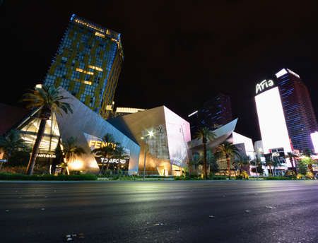 Las Vegas, Nevada - July 25, 2017: Night view from Aria Resort and Casino in Las Vegas on July 25, 2017.