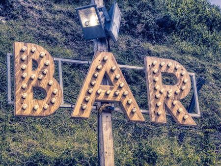 Bar luminous sign letters with bulbs light modern design