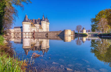 Sully Sur Loire, France - April 14, 2019: Famous medieval castle Sully sur Loire, Loire valley, France. The chateau of Sully sur Loire dates from the end of the 14th century and is a prime example of medieval fortress. Editöryel