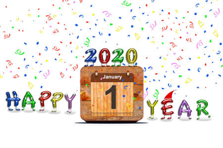 Wooden calendar with first January of 2020 year and colorful text Happy Year. 3D rendering