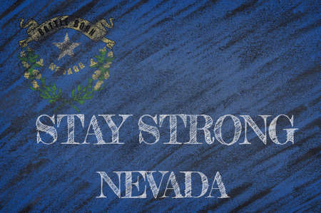 COVID-19 warning. Quarantine zone Covid 19 on Nevada ,flag illustration. Coronavirus danger area, quarantined country. Stay strong.