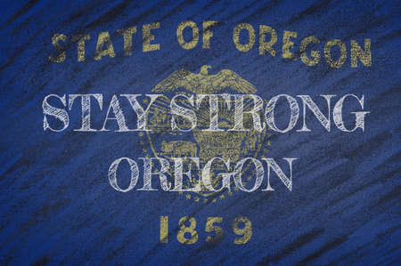 COVID-19 warning. Quarantine zone Covid 19 on Oregon ,flag illustration. Coronavirus danger area, quarantined country. Stay strong. Stockfoto