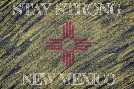 COVID-19 warning. Quarantine zone Covid 19 on New Mexico ,flag illustration. Coronavirus danger area, quarantined country. Stay strong.