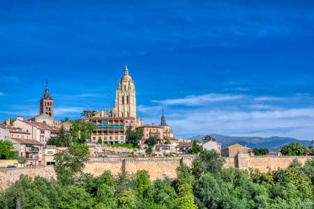 Panoramic of the Segovia cathedral in Spain.