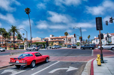 Santa Barbara, California - July 28, 2017: Chevrolet Camaro american old car driven by Santa Barbara, California on a sunny summer day