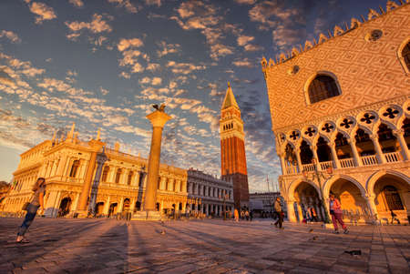 Venice, Italy - October 11, 2019: Scenic view of Piazza San Marco and Palazzo Ducale in Venice at sunrise, Italy.