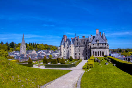 Langeais castle in the Loire region with beautiful gardens, France.