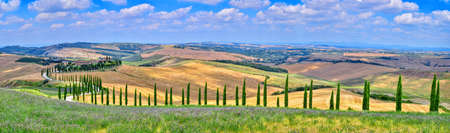Tuscany, Italy - July 5, 2018: Cypress trees and meadow with typical tuscan house, Val d'Orcia, Italy - Tuscany Redactioneel