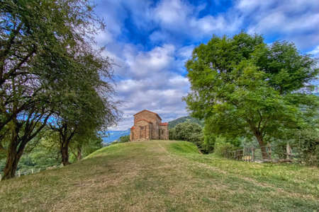 Exterior view of St Christine of Lena church at spring. Santa Cristina de Lena is a Catholic pre-Romanesque church located in Asturias, Spain.
